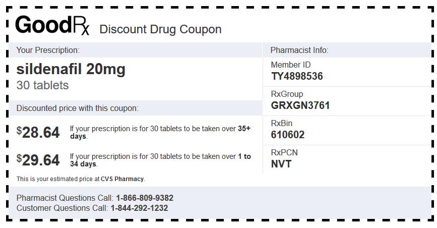 Sildenafil Generic CVS Coupon (20 mg Tablets – 30 Tablets)