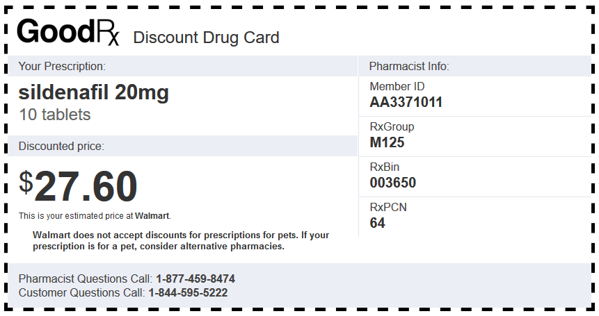 Sildenafil Generic Walmart Coupon for 20 mg Tablets (10 Pieces)