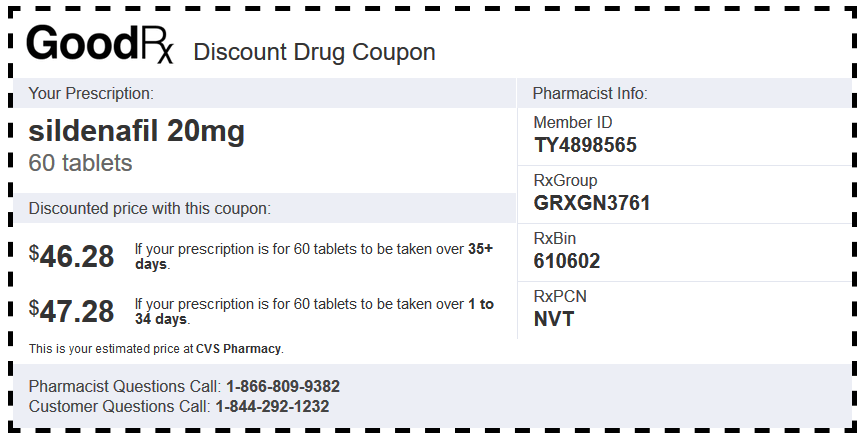 Sildenafil Generic CVS Coupon (20 mg Tablets – 60 Tablets)