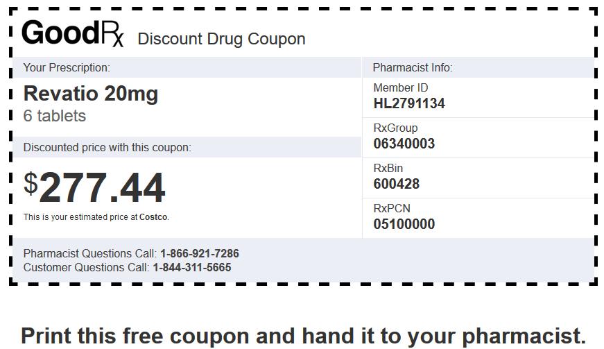 Sildenafil Price Costco – Revatio 20mg 6 Tablets Coupon